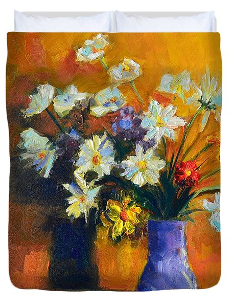 Spring Flowers In A Vase Duvet Cover by Patricia Awapara