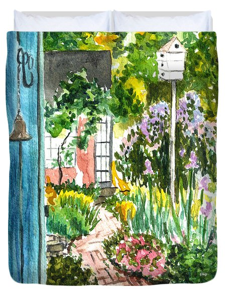 Duvet Cover featuring the painting Spring Garden by Clara Sue Beym