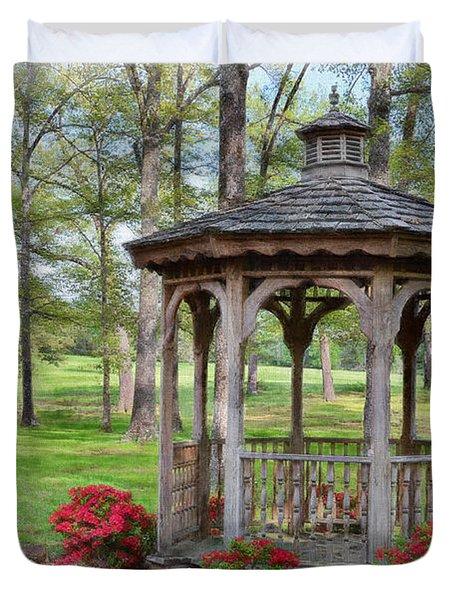 Spring Gazebo Pastel Effect Duvet Cover by Debbie Portwood