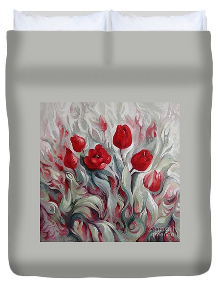 Duvet Cover featuring the painting Spring Gift by Elena Oleniuc