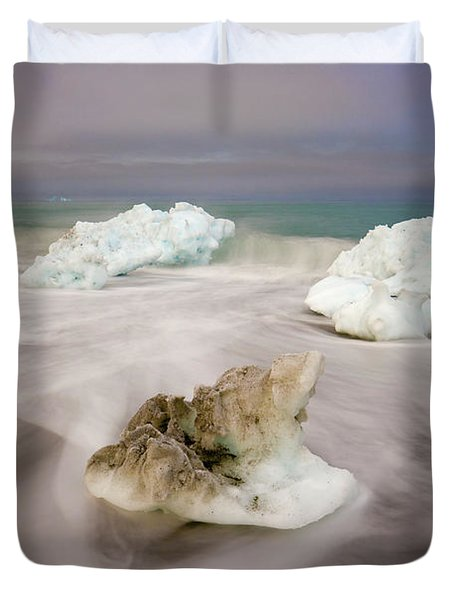 Spring Glacial Ice Along St Andrews Bay Duvet Cover