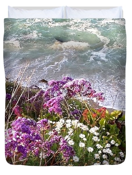 Duvet Cover featuring the photograph Spring Greets Waves by Susan Garren