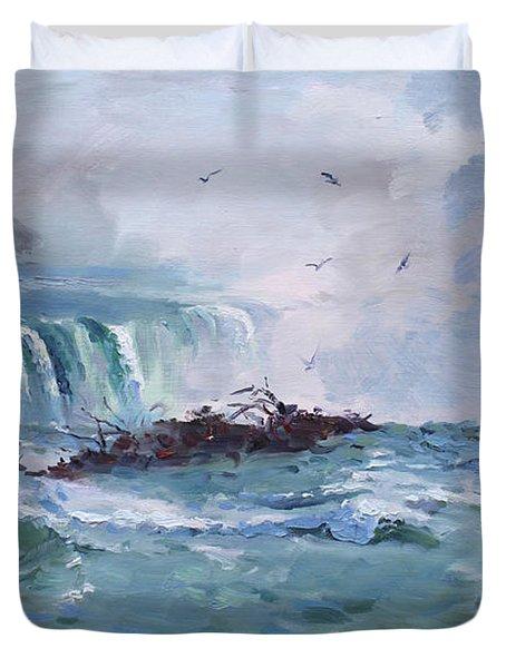 Spring In Niagara Falls Duvet Cover by Ylli Haruni