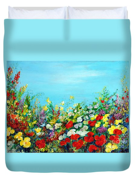 Duvet Cover featuring the painting Spring In The Garden by Teresa Wegrzyn