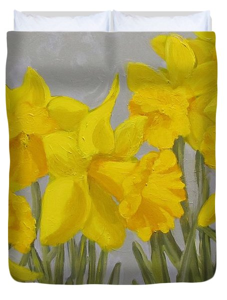 Duvet Cover featuring the painting Spring by Karen Ilari