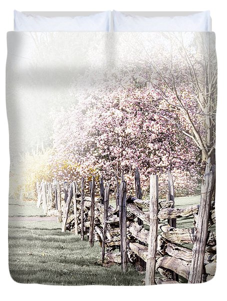Spring Landscape With Fence Duvet Cover by Elena Elisseeva