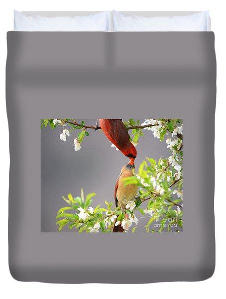 Cardinal Spring Love Duvet Cover