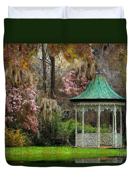 Duvet Cover featuring the photograph Spring Magnolia Garden At Magnolia Plantation by Kathy Baccari