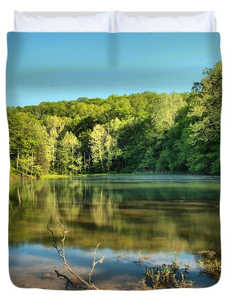 Spring Mill Lake Duvet Cover by Adam Jewell