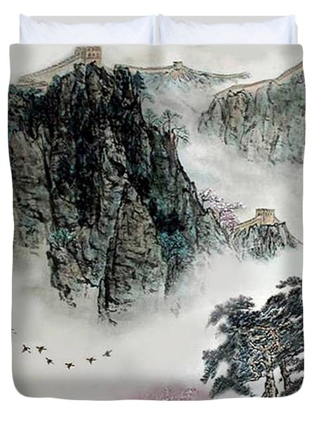 Spring Mountains And The Great Wall Duvet Cover by Yufeng Wang