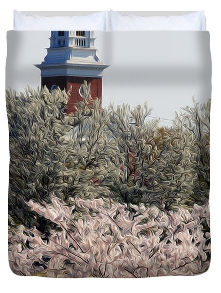 Duvet Cover featuring the digital art Spring On Fountain Lake by Kelvin Booker