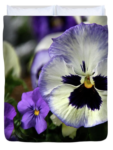 Spring Pansy Flower Duvet Cover by Ed  Riche