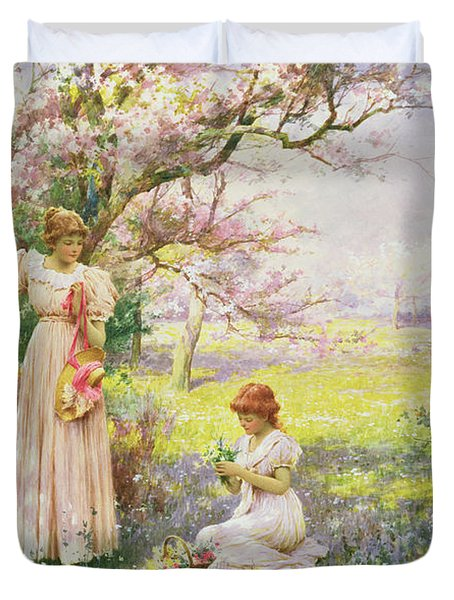 Spring   Picking Flowers Duvet Cover by Alfred Augustus I Glendenning