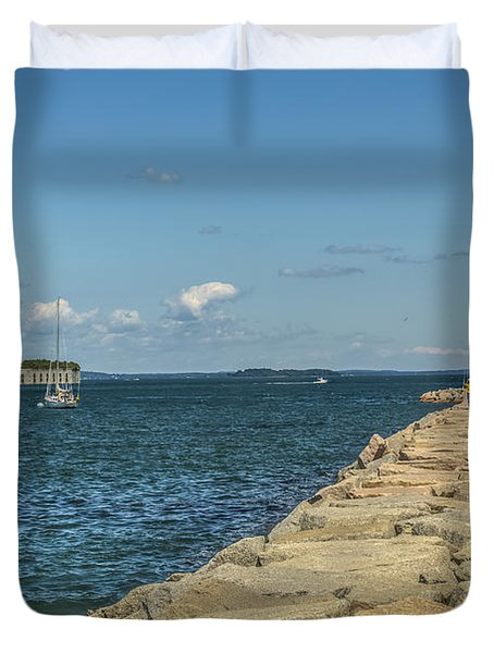 Duvet Cover featuring the photograph Spring Point Ledge Lighthouse by Jane Luxton