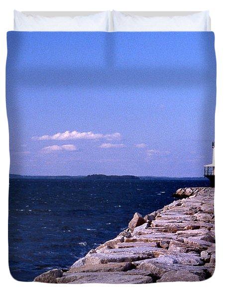 Spring Point Ledge Lighthouse Duvet Cover by Skip Willits