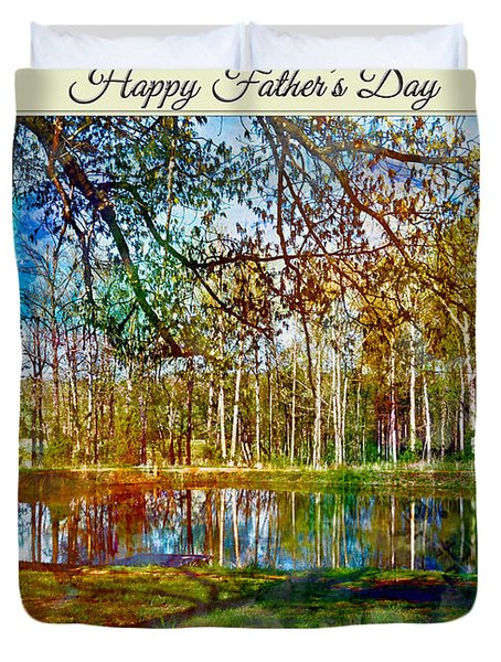 Spring Pond Photoart Father's Day Duvet Cover by Debbie Portwood
