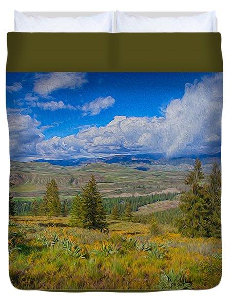 Spring Rain Across A Valley Duvet Cover by Omaste Witkowski