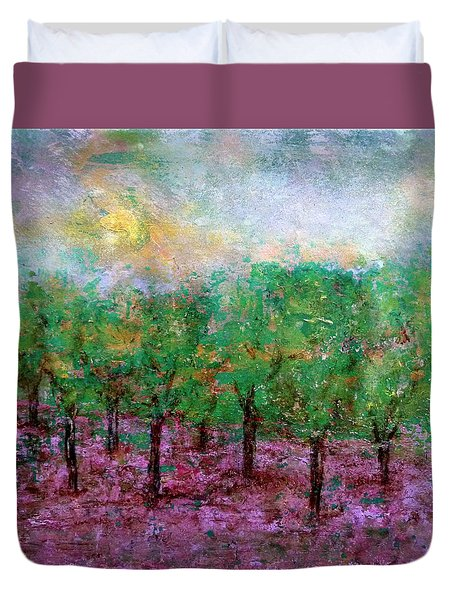 Duvet Cover featuring the painting Spring Rain by Jim Whalen