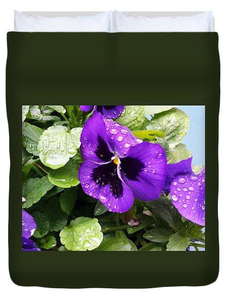 Spring Rain On Pansies Duvet Cover