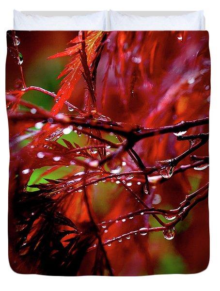 Spring Rain Duvet Cover by Rona Black