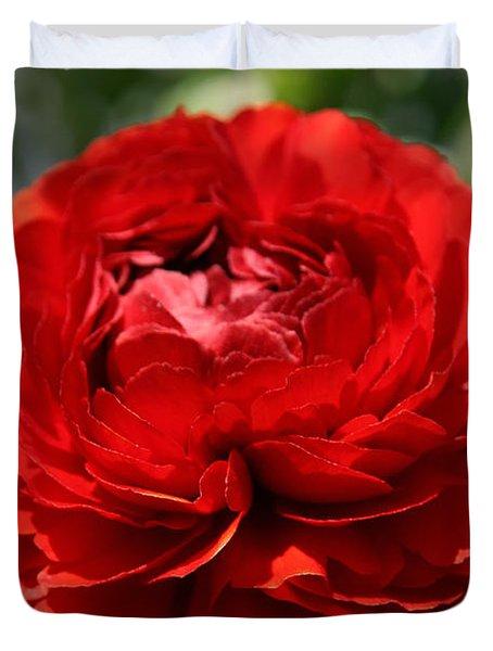Spring Scarlet Double Begonia Duvet Cover