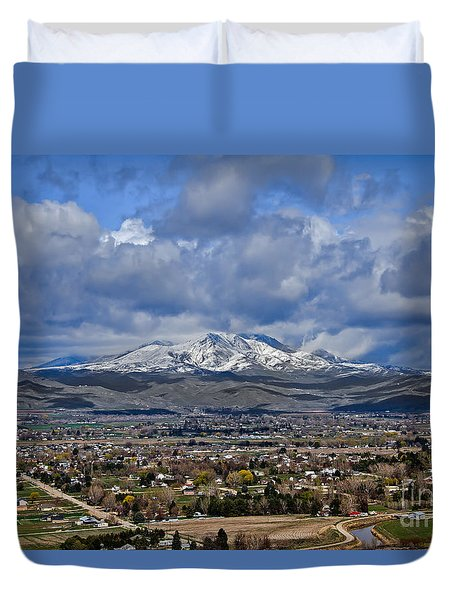 Spring Snow On Squaw Butte Duvet Cover