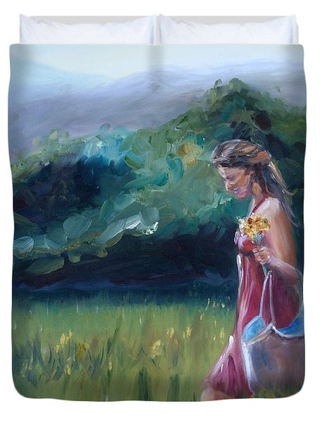Duvet Cover featuring the painting Spring Stroll by Donna Tuten