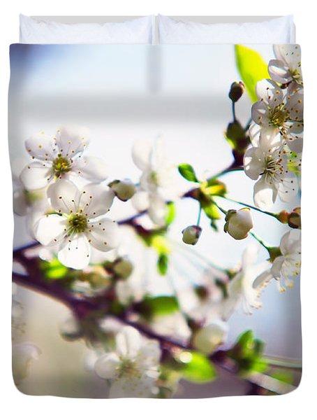 Spring White Cherry Tree  Duvet Cover by Jenny Rainbow