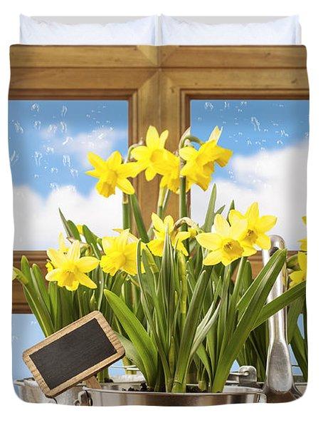 Spring Window Duvet Cover by Amanda Elwell