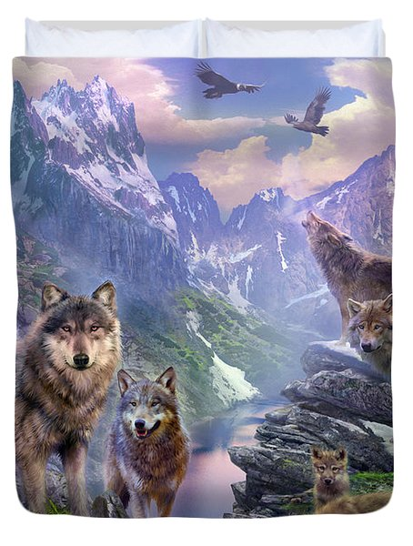 Spring Wolves Duvet Cover by Jan Patrik Krasny