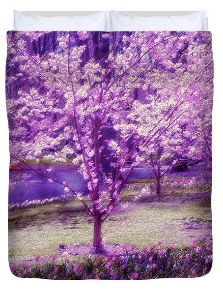 Spring Wonderland Pastel. Garden Keukenhof. Netherlands Duvet Cover by Jenny Rainbow