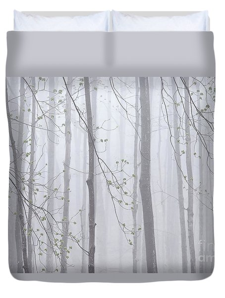 Duvet Cover featuring the photograph Spring Woodland Fog 1 by Alan L Graham