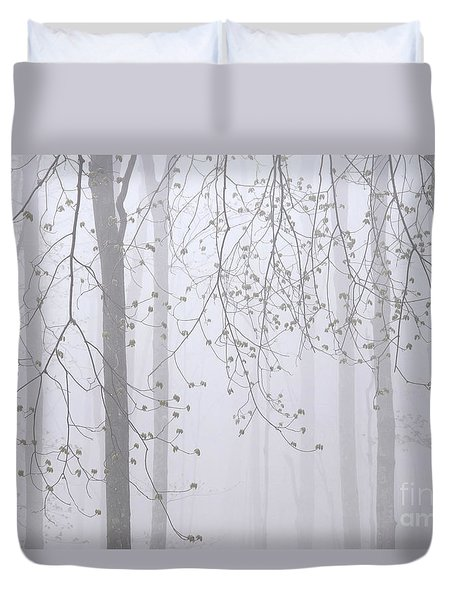 Duvet Cover featuring the photograph Spring Woodland Fog 2 by Alan L Graham