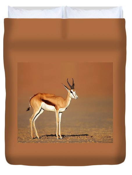 Springbok On Sandy Desert Plains Duvet Cover by Johan Swanepoel