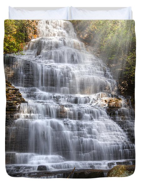 Springtime At Benton Falls Duvet Cover