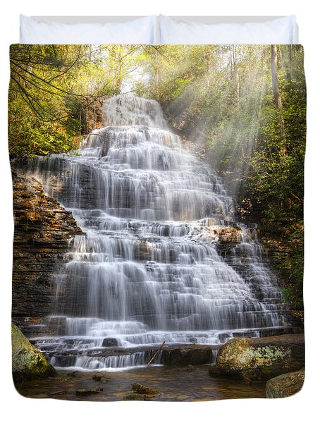Springtime At Benton Falls Duvet Cover by Debra and Dave Vanderlaan