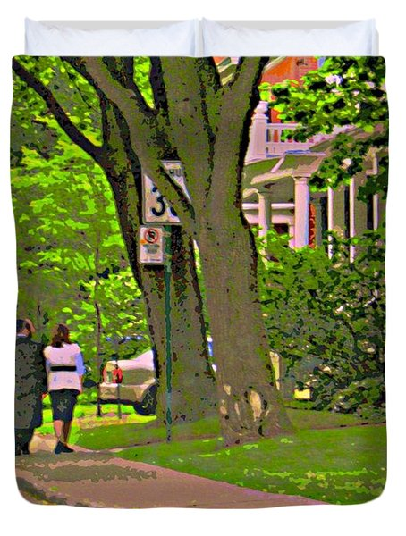 Springtime Stroll Through Beautiful Tree Lined Outremont Montreal Street Scene Art By Carole Spandau Duvet Cover by Carole Spandau
