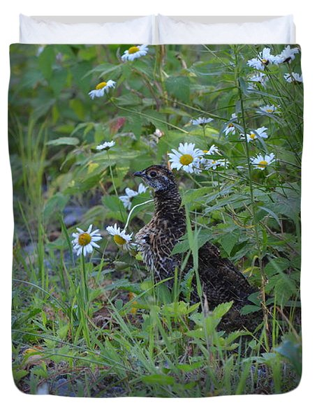 Duvet Cover featuring the photograph Spruce Grouse by James Petersen