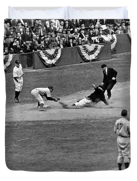 Spud Chandler Is Out At Third In The Second Game Of The 1941 Wor Duvet Cover