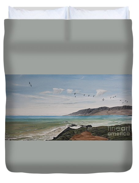 Squadron Of Pelicans Central Califonia Duvet Cover