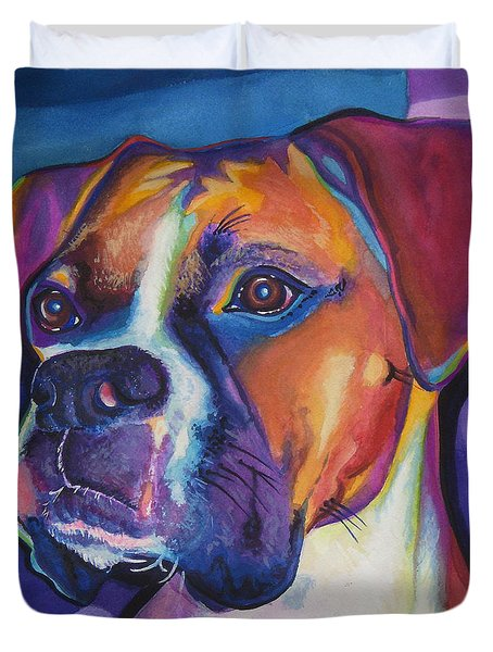 Square Boxer Portrait Duvet Cover