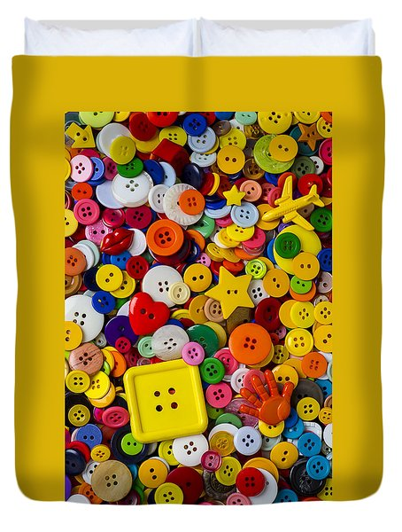 Square Button Duvet Cover by Garry Gay