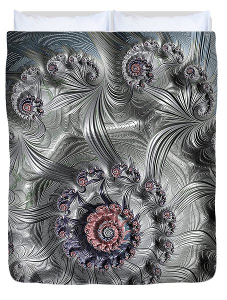 Square Format Abstract Fractal Spiral Art Duvet Cover by Matthias Hauser