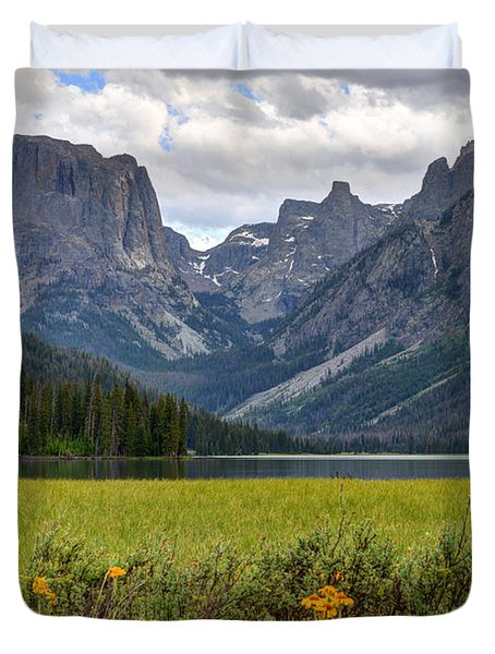 Squaretop Mountain And Upper Green River Lake  Duvet Cover