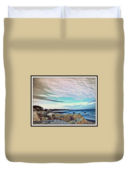 Squibby Cliffs And Mackerel Sky Duvet Cover by Kathy Barney