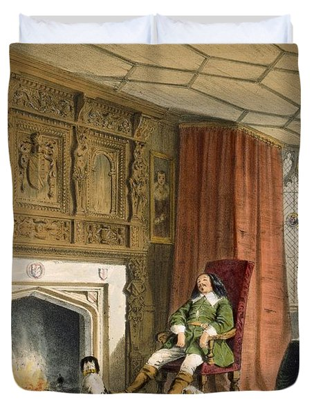 Squire With His Dogs By The Hearth Duvet Cover