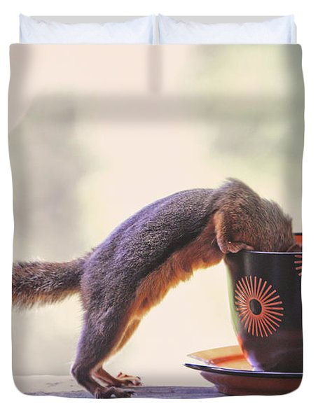 Squirrel And Coffee Duvet Cover by Peggy Collins