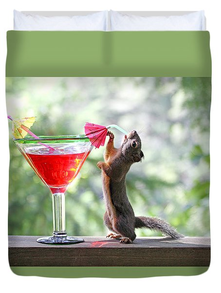 Squirrel At Cocktail Hour Duvet Cover