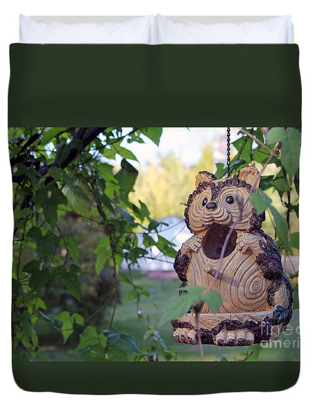 Squirrel Bird Feeder Duvet Cover