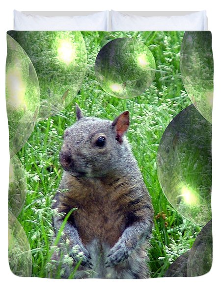 Squirrel In Bubbles Duvet Cover